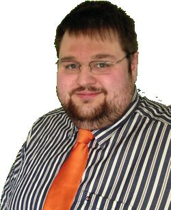 Marc Jandt mit Hemd und Krawatte im Blogdesign