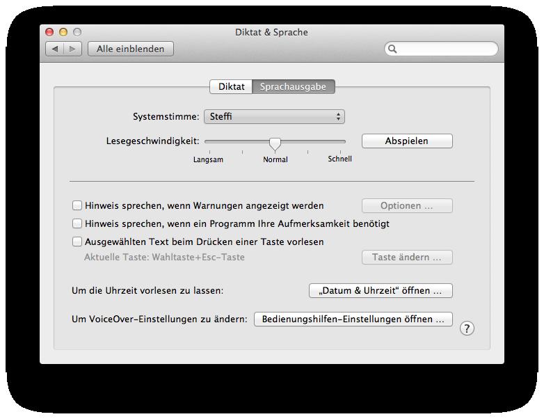 Mac Diktat & Sprache Sprachausgabe
