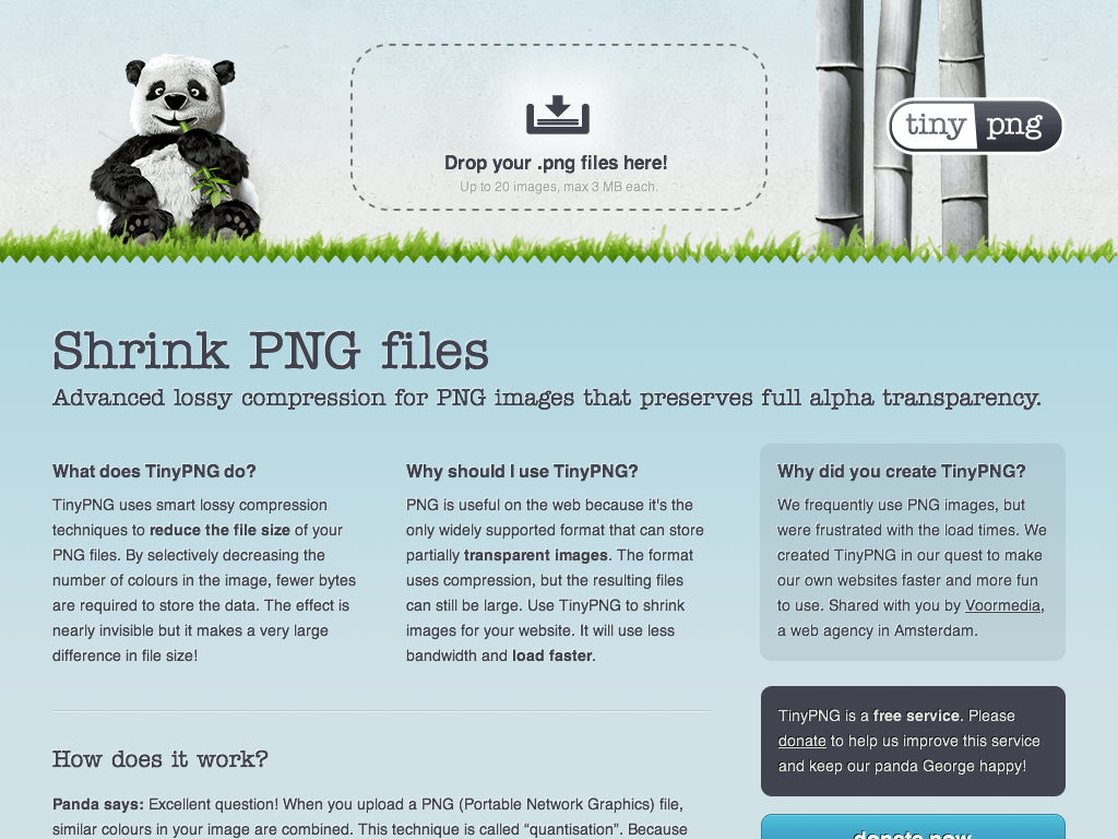 tinypng.org Screenshot in der Mokelage