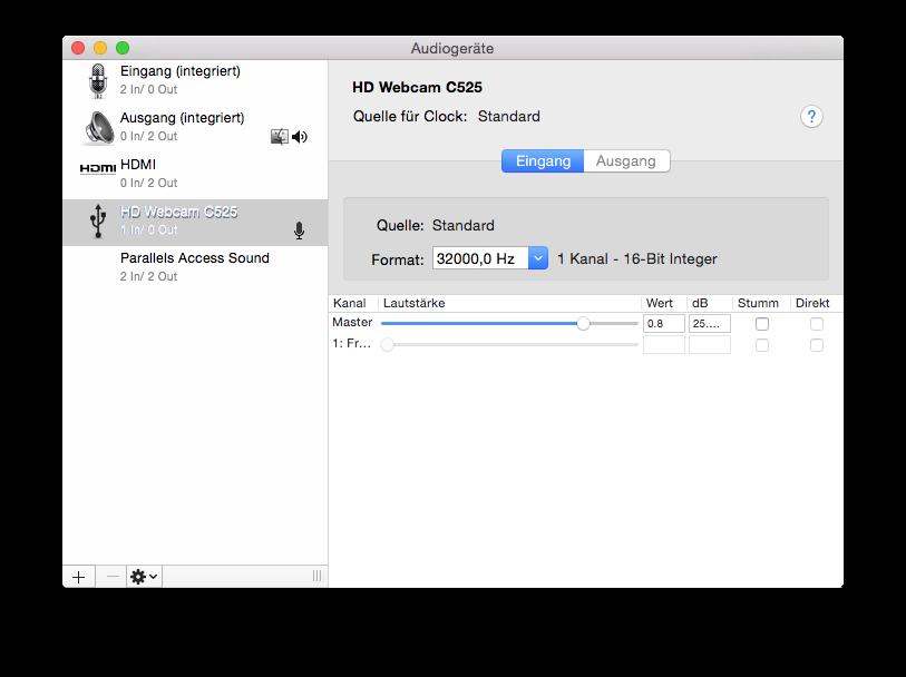 Einfach die Webcam auswählen und das Format auf 32000,0 Hz umstellen.