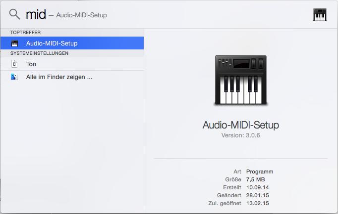 """Drei Buchstaben in Spotlight (cmd + space), nämlich """"mid"""", reichen schon aus um das Audio-MIDI-Setup zum Vorschein zu bringen."""